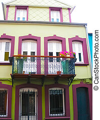 The colorful building in the downtown of Fort-de-France, ...