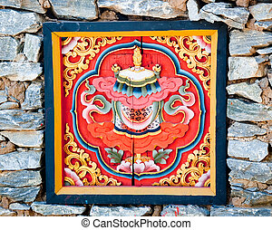 The Colorful carving wood of bhutan style