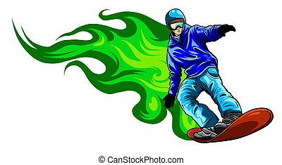 The colorful figure of a young man snowboarding with drops and sprays on a white background.