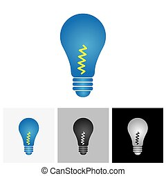 The colorful light bulb glowing - vector graphic. This...
