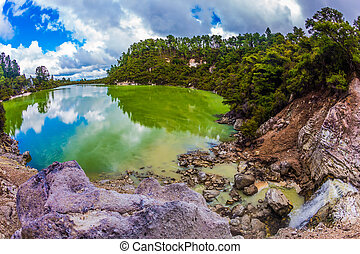 The colorful opaque water - Lake with colorful opaque water...