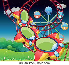 The colorful roller coaster - Illustration of the colorful...