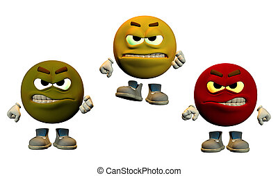 the colors of anger - large emoticons showing angry faces
