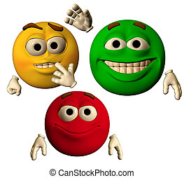 the colors of joy - large emoticons showing happy faces