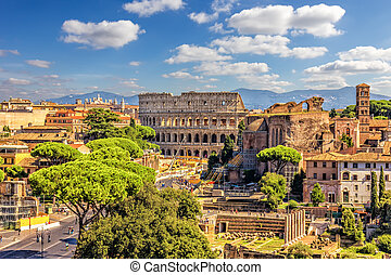 The Colosseum and Roman Forum from the Vittoriano, summer shot, Italy