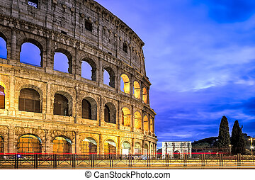 The Colosseum at dusk