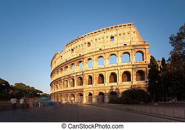The Colosseum in Rome at sunset, Italy