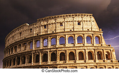 The Colosseum in Rome with Dramatic sky