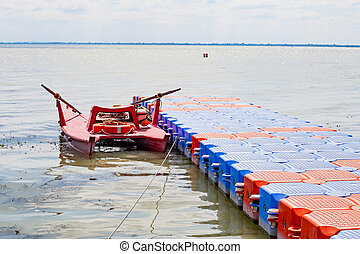 The colourful boats - Colorful boat on the hungarian lake,...