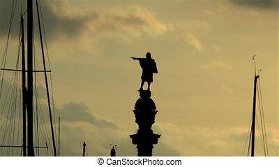 The Columbus Monument, Mirador de Colum, in Barcelona, Catalonia, Spain.