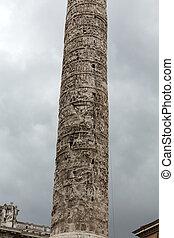 The Column of Marcus Aurelius in Piazza Colonna. Rome, italy