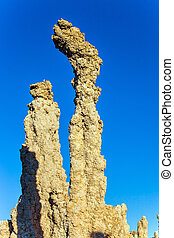 "The columns - remains of ""Tufa"" on the bank of the Mono..."