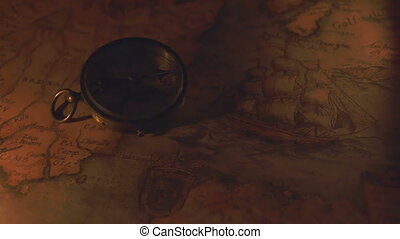 The compass and the map on a night vision