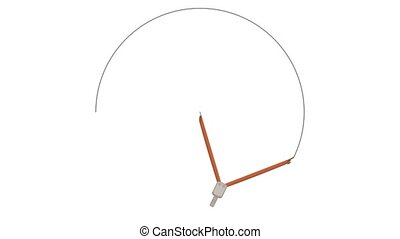 The compasses draw a circle on a piece of paper