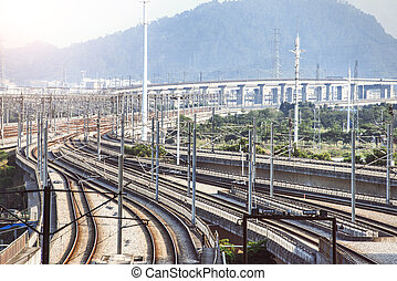 The complex of Highspeed train railway