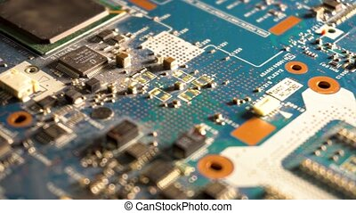 The components of the computer motherboard. Dolly shot and...