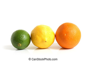 The composition of lemon, lime and orange on a white...