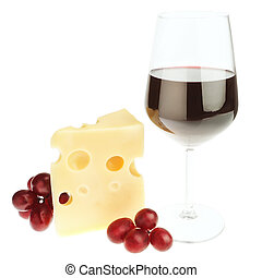 The composition of snacks of cheese, wine and grapes. On a white background.