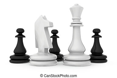 The composition of the chess pieces isolated on white...