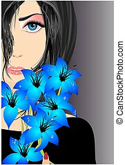 The composition of the woman and blue flowers