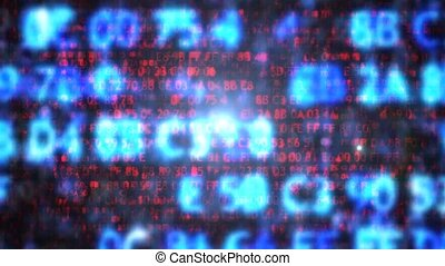 The computer code in the form of blurred. Computer code.