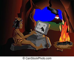 The computer even know cavemen sit