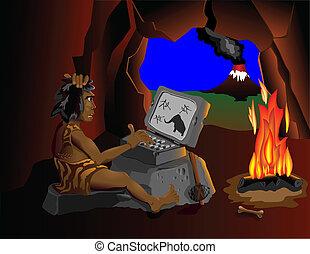The computer even know cavemen sit
