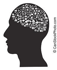 human brain with social media icons set