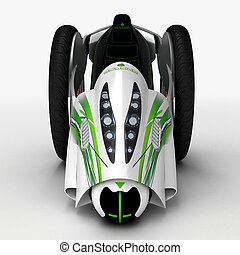 The concept of a city electric vehicle. 3D illustration.
