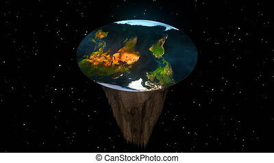 The concept of a flat planet Earth. 3d rendering