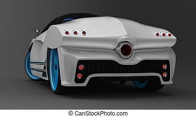 The concept of a sports car coupe is a convertible. Exclusive and stylized tuning of electric cars. Illustration 3d model.