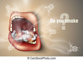 The concept of anti-smoking. mouth with cigarette butts and...
