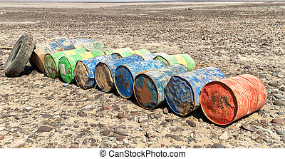 the concept of biohazard the oil cans abandonated