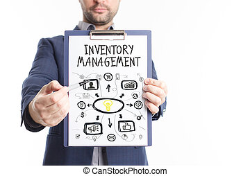 The concept of business, technology, the Internet and the network. A young businessman shows a successful scheme of work: Inventory management