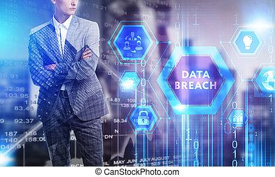 The concept of business, technology, the Internet and the network. A young entrepreneur working on a virtual screen of the future and sees the inscription: Data breach