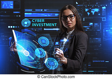 The concept of business, technology, the Internet and the network. A young entrepreneur working on a virtual screen of the future and sees the inscription: Cyber investment