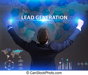 The concept of business, technology, the Internet and the network. Young businessman showing inscription: Lead generation