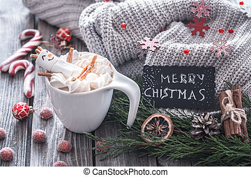 The concept of Christmas cocoa with marshmallows