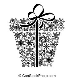 The concept of Christmas discounts. Black gift box with snowflakes isolated on white background.