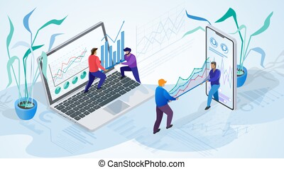 The concept of company time management. Isometric projection...