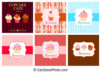 The concept of cupcakes cafe menu. Vector illustration