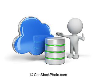 The concept of storing data in the cloud. 3d image. White background.