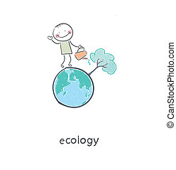 The concept of ecological restoration. A man watering a tree...