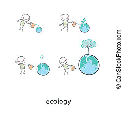 The concept of ecological restoration. A man watering a tree. Illustration.