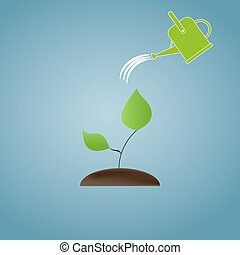 The concept of ecological restoration. Watering a tree. Illustration.