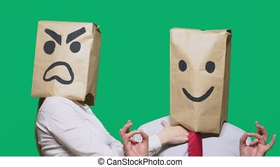 The concept of emotions and gestures. Two people in paper...
