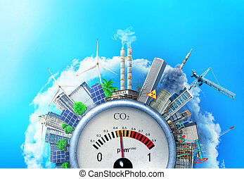 The concept of environmental pollution. City around a carbon...