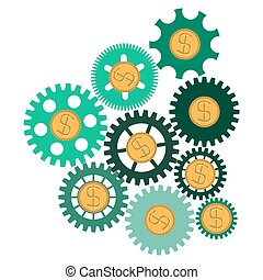the concept of financial operations. gears with coins