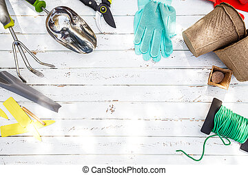 The concept of gardening. Tools and items for gardening and planting plants on a white wooden table