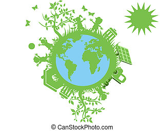 the concept of green eco globe